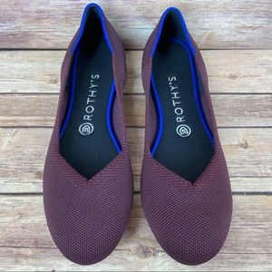 Rothy's Port Wine Round Toe Retired Flats Shoes 9